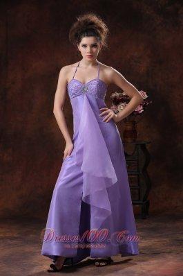 Halter Lilac Formal Evening Prom Dress Beading