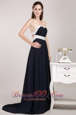 Black Back Cut Brush Beading Prom Pageant Evening Dress