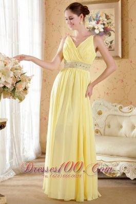 Prom Evening Dress Yellow Column V-neck Beading Ruch