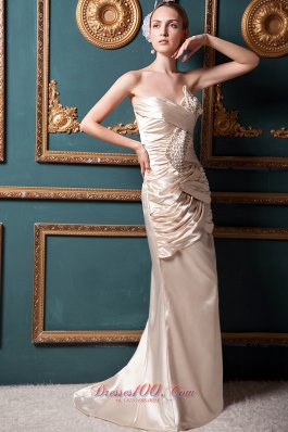 Champagne Homecoming Dress Column Brush Beading