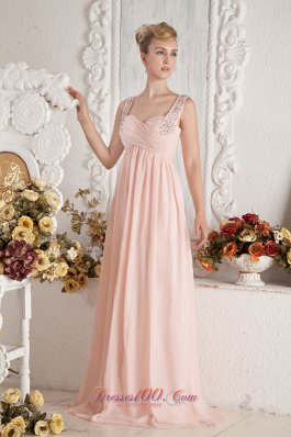 Baby Pink Empire Straps Beading Pleats Prom Dress