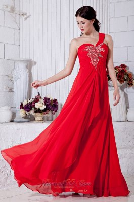 Red Prom Evening Dress Beading One Shoulder