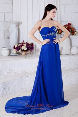 Elegant Royal Blue Prom Dress Embroidery Chiffon
