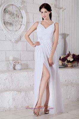 White Empire Straps Beading Prom Evening Dress Slit
