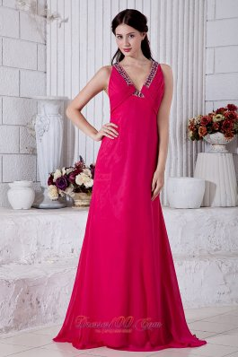 Coral Red Prom Dress V-neck Brush Cross Back Beading