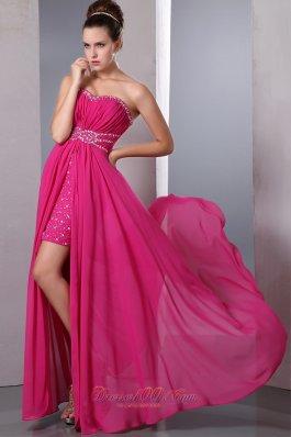 Hot Pink Column Chiffon Beading Prom Celebrity Dress High-low