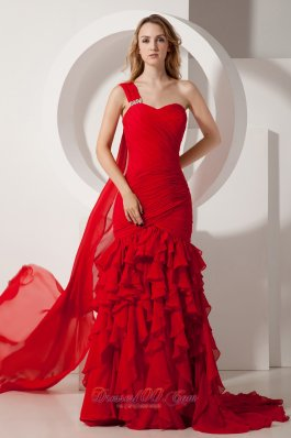 Red Mermaid Ruffles Prom Dress One Shoulder Watteau