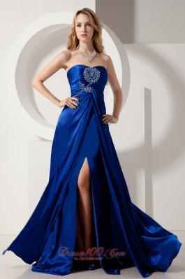 High Slit Royal Blue Prom Dress Beading Brush