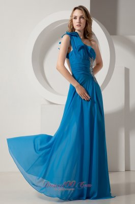 Sexy Sky Blue Prom Dress One Shoulder Backless
