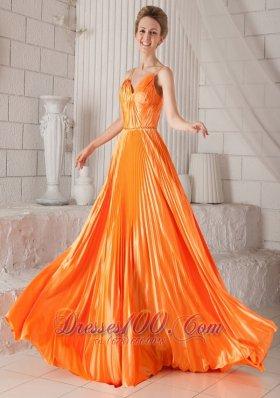Orange Red Pleat Prom Dress Spaghetti Straps V-neck