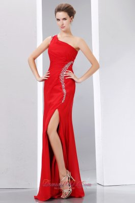 Cheap Red Prom Dress One Shoulder Beading Slit