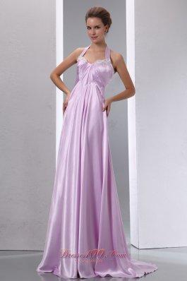 Lavender Halter Appliques Junior Prom Evening Dress