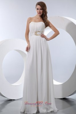 White Empire Chiffon Beading Prom Dress Strapless
