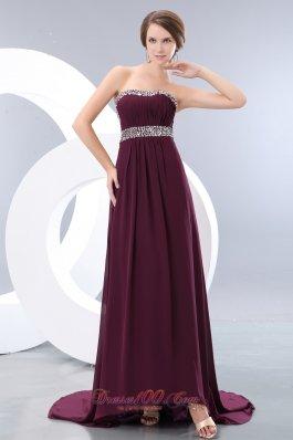 Dark Purple Prom Evening Dress Chiffon Beading Brush