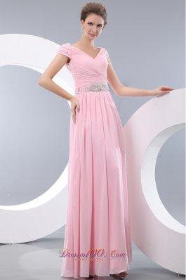 Sweet Baby Pink Prom Evening Dress V-neck Beading