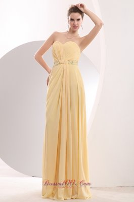 Light Yellow Prom Celebrity Dress Beading Sweetheart