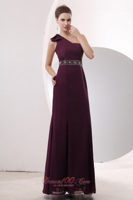 Empire One Shoulder Beading Mother Dress Burgundy