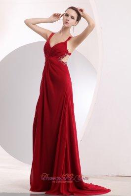 Wine Red Empire Straps Prom Dress Beading Cross Back
