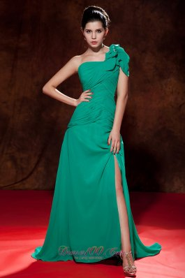Cap Sleeve Turquoise Prom Pageant Dress One Shoulder Slit