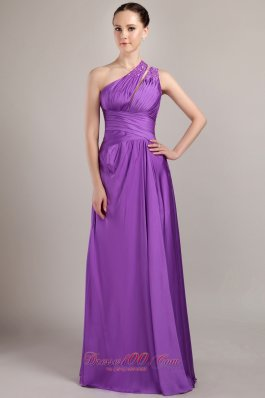 Purple One Shoulder Beading Prom Pageant Dress Two Straps