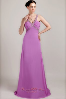 Lavender Sheath V-neck Dress for Prom Brush Beading