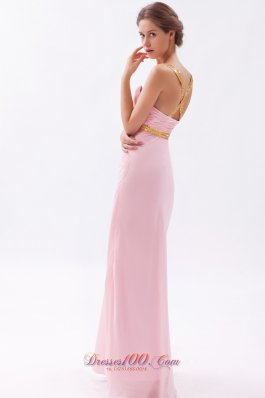 Baby Pink Cross Back Sheath Straps Prom Dress Sequins