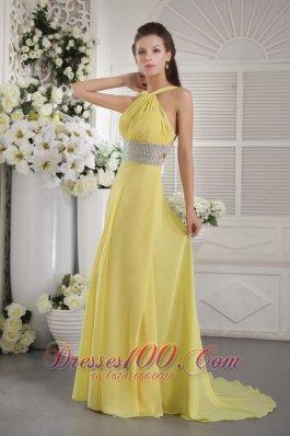 Yellow Halter Beading Prom Graduation Dress Backless