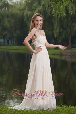 White Prom Dress Empire Strapless Brush Beading