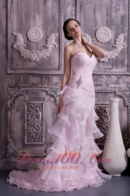 Baby Pink Prom Dress Brush Beading Ruched Ruffles