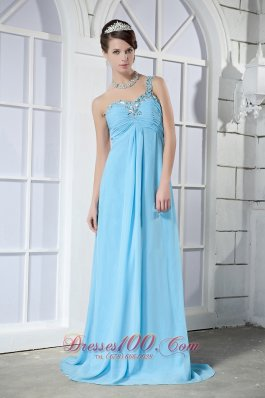 One Shoulder Prom Dress Brush Beading Light Blue