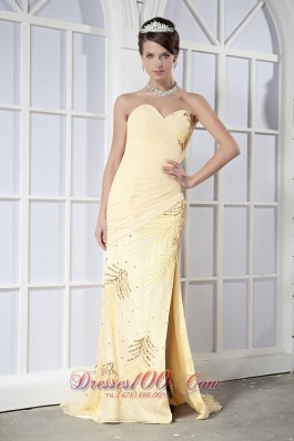 Light Yellow Column Brush Sequins Dress For Prom