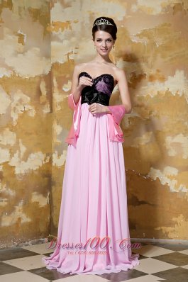 Pink and Black Column Brush Prom Celebrity Dress Hand Made