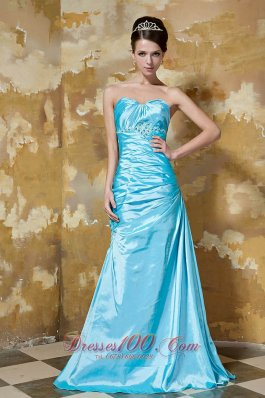 Aqua Blue Prom Dress Column Beading Sweetheart