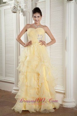 Prom Evening Dress Empire Ruffles Beading Organza