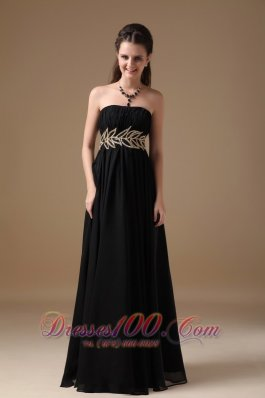 Beading Leaf Pattern Waistband Black Maxi Dress