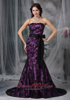 Lace Overlay Purple Prom Dress Mermaid Sashed