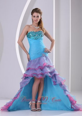 High-low Layered Multi-color Mermaid Prom Dress
