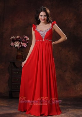 Square Red Chiffon Prom Dress with Beads Straps