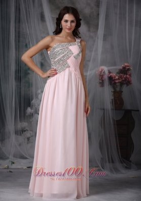 One Shoulder Baby Pink Beading Prom Dress Designers