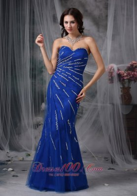 Mermaid Tulle Royal Blue Beaded Prom Dress
