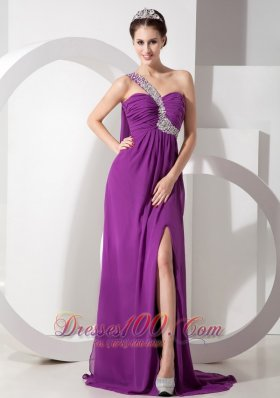 Watteau Train High Slit One Shoulder Prom Evening Gowns
