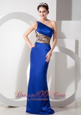 Blue One Shoulder Lepard Brush Evening Dress