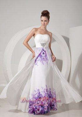 Printing Empire White Evening Dress Chiffon Beaded