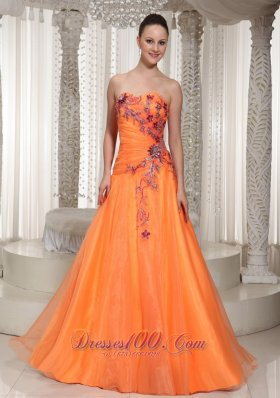 Orange Ruched Organza Prom Dress With Appliques