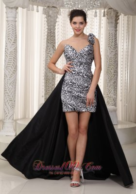 Leopard High low Prom Dress Black and White Asym