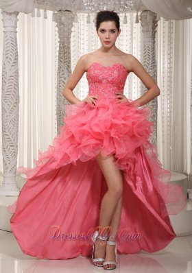Ruffled Watermelon Evening Dress High-low Beaded
