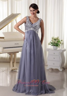 Sequins Brush Train V-neck Grey Evening Dress