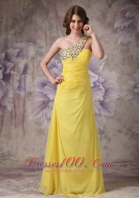 Yellow One Shoulder Beads Evening Dress Ruched