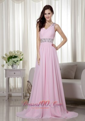 One Shoulder Brush Baby Pink Celebrity Dress Beaded