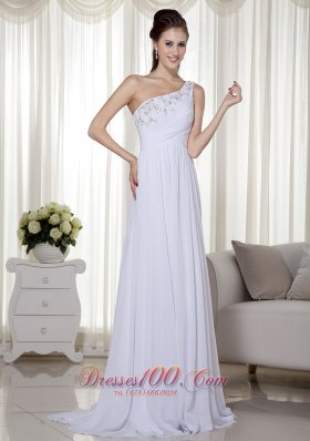 Beading Brush White Holiday Dress with One Shoulder